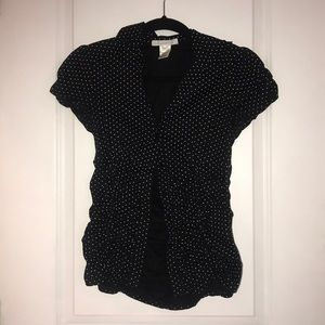 Black and white polka dot button up shirt